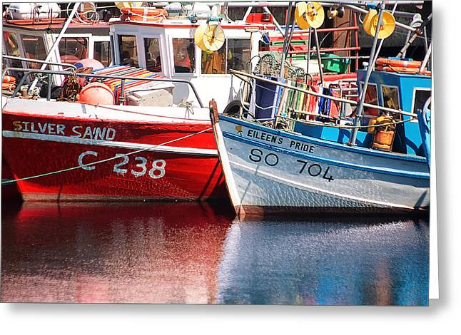 Wooden Ship Greeting Cards - Boats in harbour Greeting Card by Frank Fullard