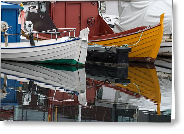 Boats In Water Greeting Cards - Boats in Marina, Torshavn, Faroe Islands_4 Greeting Card by Judith Barath