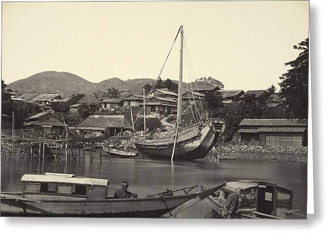 Boats In Water Greeting Cards - Boats in River in Nagaski Greeting Card by Felice Beato