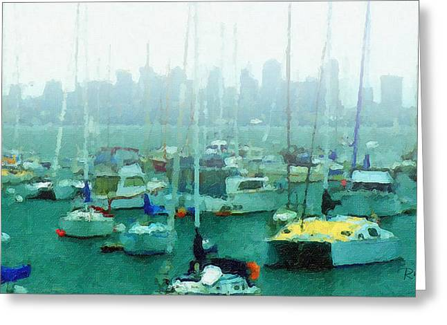 Buildings In The Harbor Greeting Cards - Boats In The Bay Greeting Card by Russ Harris
