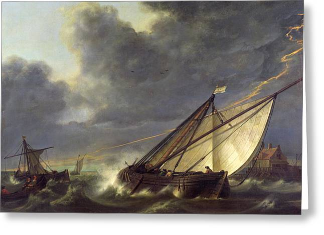Boats In The Estuary Of Holland Diep In A Storm Greeting Card by Aelbert Cuyp
