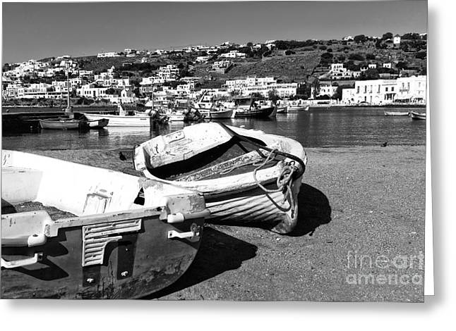 Boats In The Mykonos Old Port Mono Greeting Card by John Rizzuto