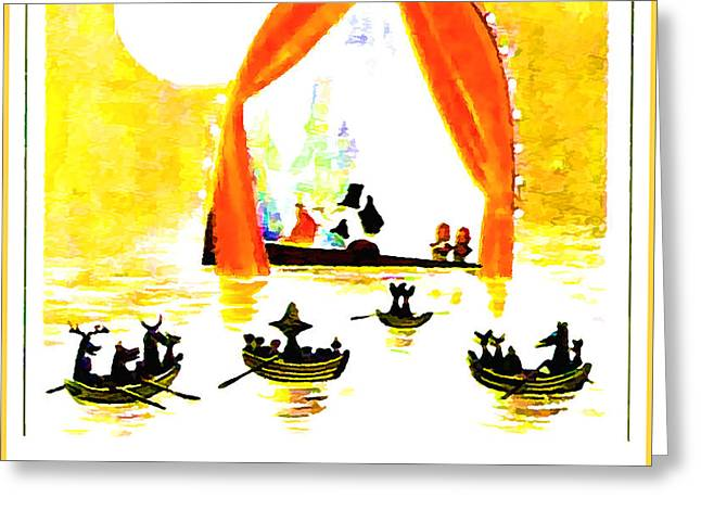 Boats In Water Greeting Cards - Boats in water Greeting Card by Lanjee Chee