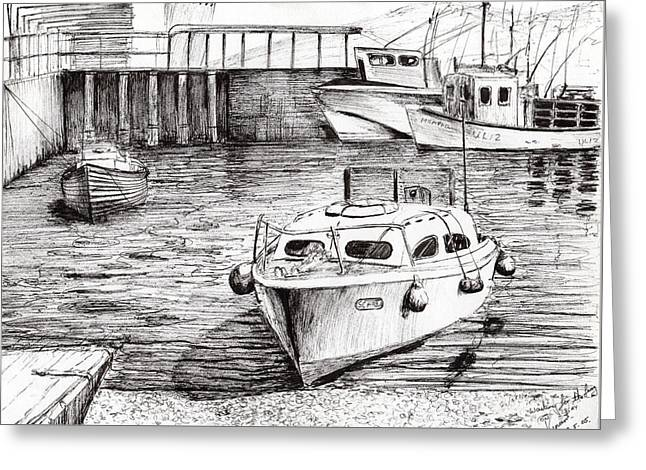 Water Vessels Drawings Greeting Cards - Boats Islay Scotland Greeting Card by Vincent Alexander Booth