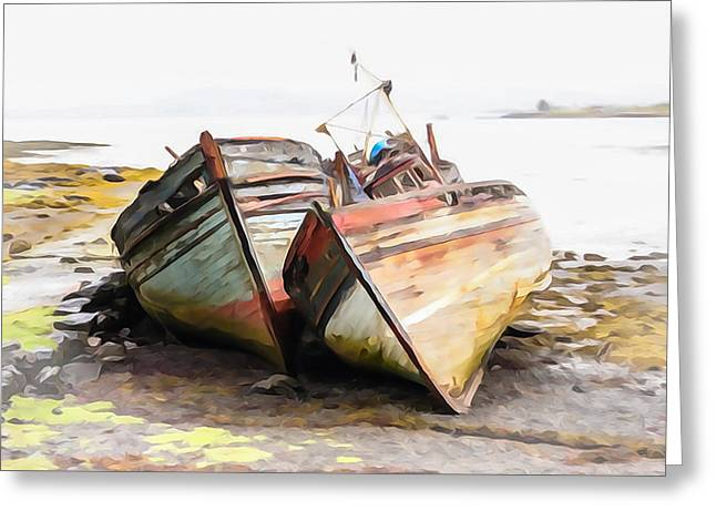 Tom Cory Greeting Cards - Boats Isle of Mull 5 Greeting Card by Tom and Pat Cory