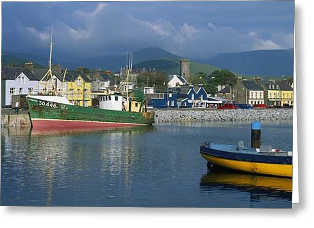 The Hills Greeting Cards - Boats Moored At A Harbor, Dingle Greeting Card by The Irish Image Collection