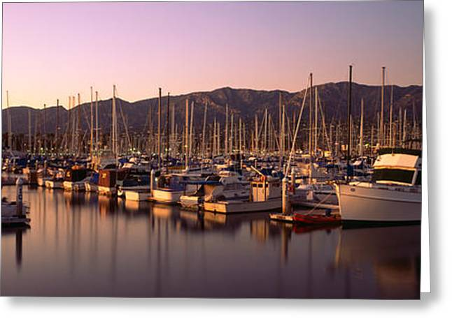 Stearns Wharf Greeting Cards - Boats Moored At A Harbor, Stearns Pier Greeting Card by Panoramic Images