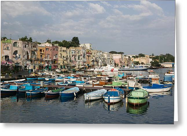 Reflections Of Building In Water Greeting Cards - Boats Moored At A Port, Procida Greeting Card by Panoramic Images