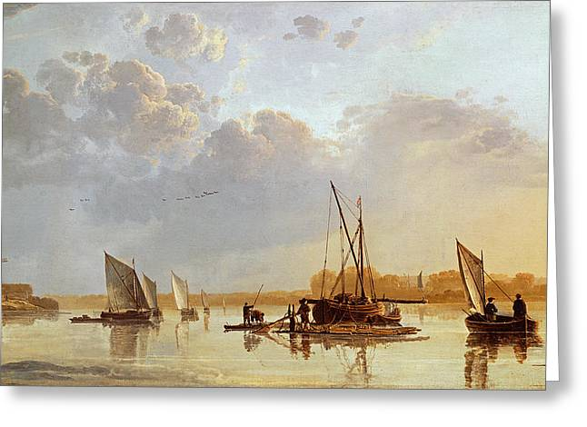 Evening Lights Paintings Greeting Cards - Boats on a River Greeting Card by Aelbert Cuyp