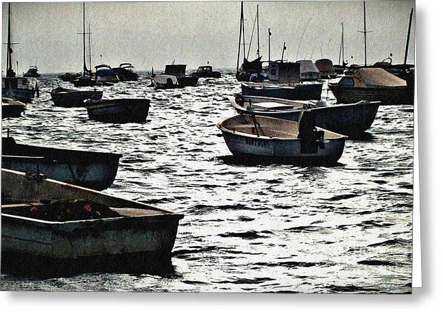 Sarah Loft Greeting Cards - Boats on Mar Menor Greeting Card by Sarah Loft