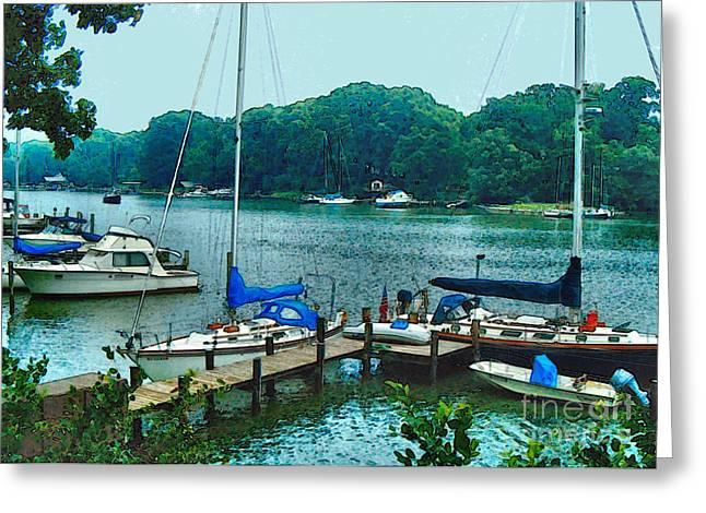 Elinor Mavor Greeting Cards - Boats on the Bay Greeting Card by Elinor Mavor