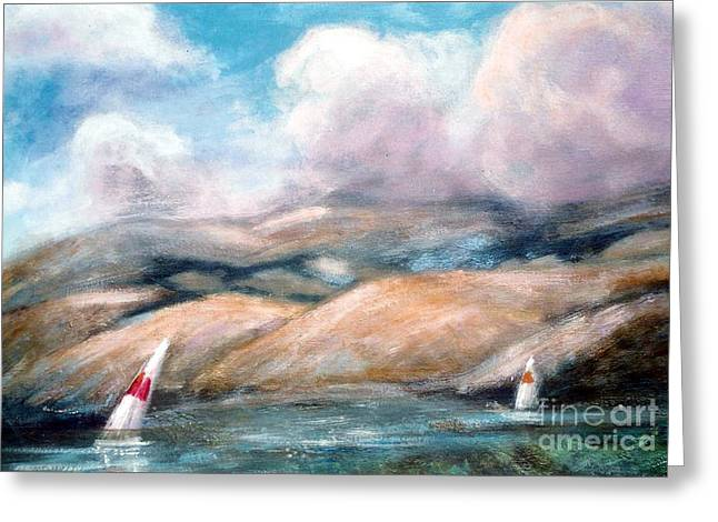 Boats In Water Mixed Media Greeting Cards - Boats on the Bay Greeting Card by Marcy  Orendorff