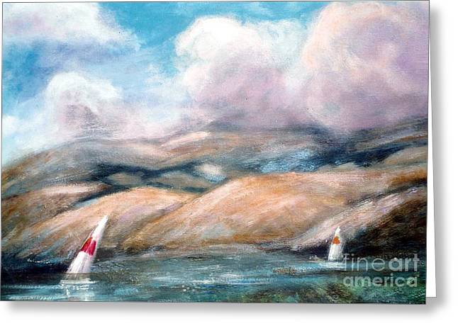Sailing Toward Home Greeting Card by Marcy  Orendorff
