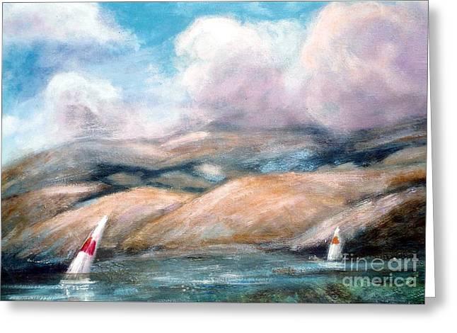 San Francisco Bay Mixed Media Greeting Cards - Sailing Toward Home Greeting Card by Marcy  Orendorff
