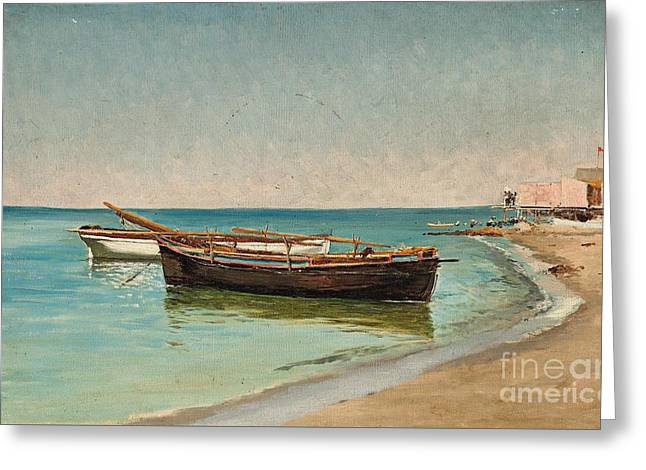 On The Beach Greeting Cards - Boats on the Beach at Palo Greeting Card by Pietro Barucci
