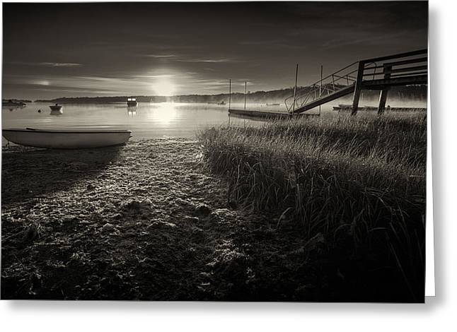 Calming Beach Photos Greeting Cards - Boats On The Cove At Sunrise In The Fog - Black and White Photograph Greeting Card by Dapixara Art