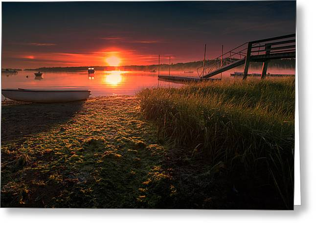 Cape Town Greeting Cards - Boats On The Cove At Sunrise In The Fog Greeting Card by Dapixara Art