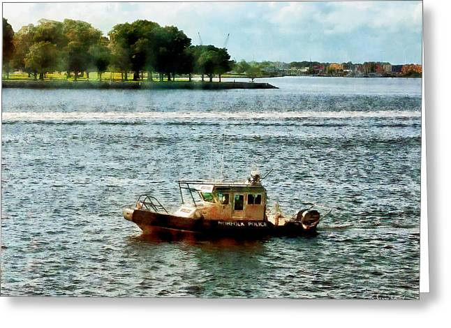 Policewoman Greeting Cards - Boats - Police Boat Norfolk VA Greeting Card by Susan Savad
