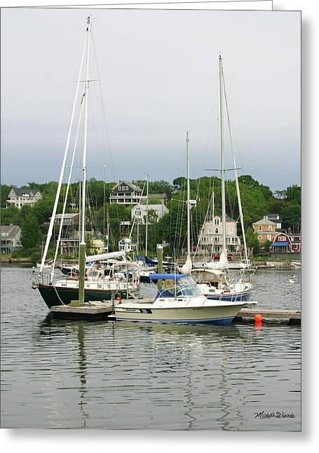 Sailboats Docked Greeting Cards - Boats Rocky Neck Art Colony Gloucester Massachusetts Greeting Card by Michelle Wiarda