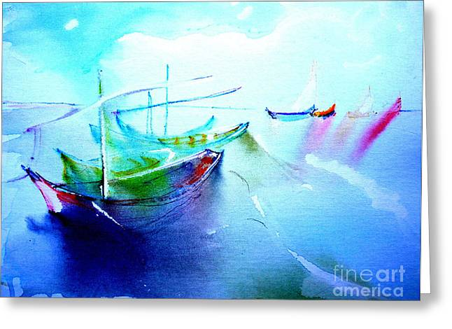Masts Mixed Media Greeting Cards - Boats to Gogh Greeting Card by Lynn Rogers