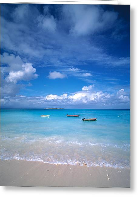 Boats Tropical Caribbean Sea Antilles Greeting Card by Panoramic Images