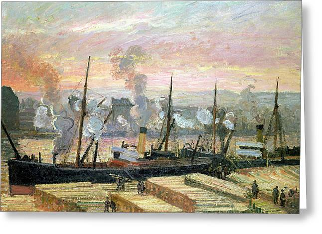 Sunset At Rouen Greeting Cards - Boats Unloading Wood Greeting Card by Camille Pissarro