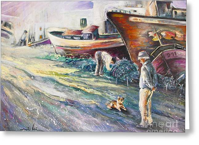 Seacape Greeting Cards - Boats Yard in Villajoyosa Spain Greeting Card by Miki De Goodaboom