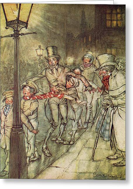 Charles Dickens Greeting Cards - Bob Cratchit went down a slide on Cornhill Greeting Card by Arthur Rackham