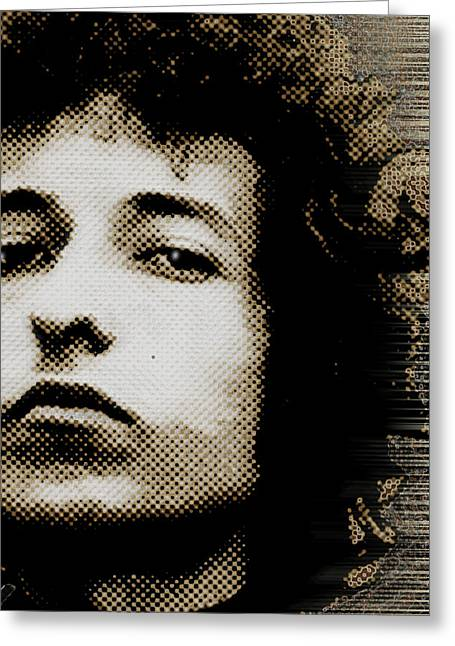 Bob Dylan 4 Vertical Greeting Card by Tony Rubino
