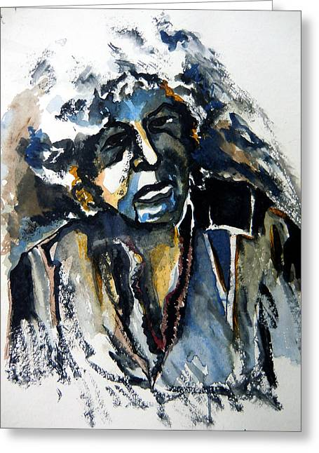 Anti Mixed Media Greeting Cards - Bob Dylan and Blues Greeting Card by Mindy Newman
