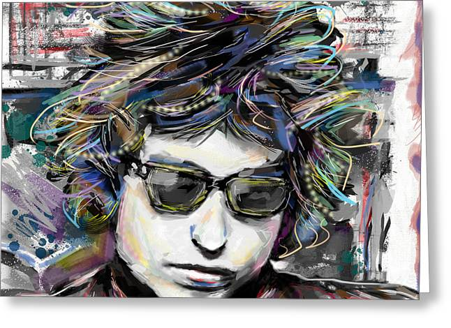 Bob Dylan Print Greeting Cards - Bob Dylan Art Greeting Card by Ryan RockChromatic