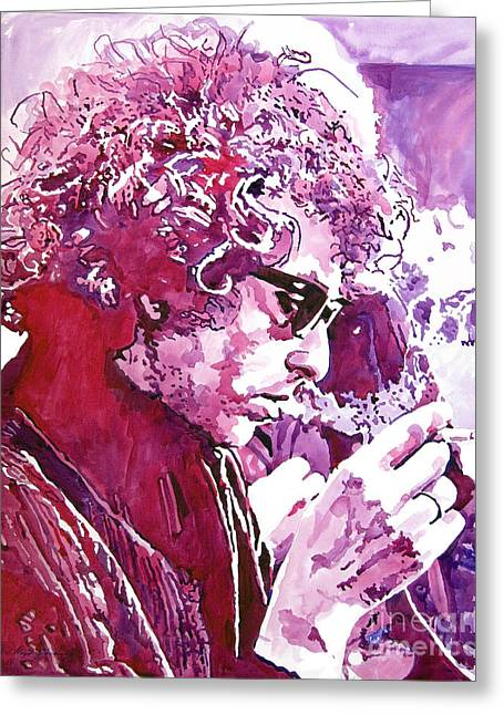 Celebrity Portrait Greeting Cards - Bob Dylan Greeting Card by David Lloyd Glover