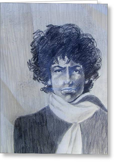 Bob Dylan In The Rock Years Greeting Card by Judith Redman