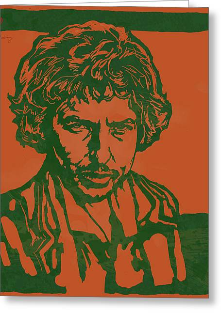 Journalist Greeting Cards - Bob Dylan Pop Stylised Art Sketch Poster Greeting Card by Kim Wang