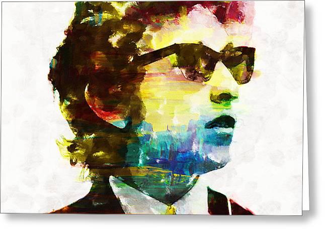 Bob Dylan Rainbow Wayfarers Greeting Card by John Farr