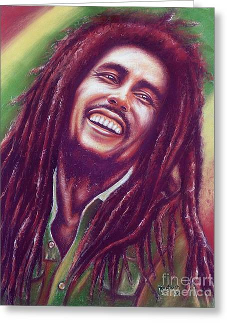 Pastel Portrait Greeting Cards - Bob Marley Greeting Card by Anastasis  Anastasi