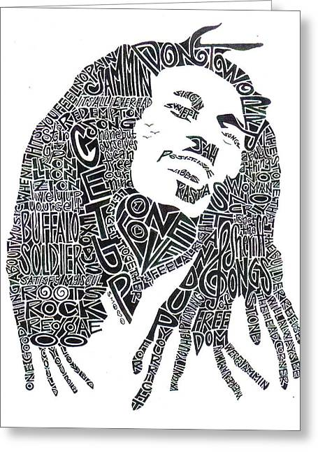 Whites Drawings Greeting Cards - Bob Marley Black and White Word Portrait Greeting Card by Kato Smock