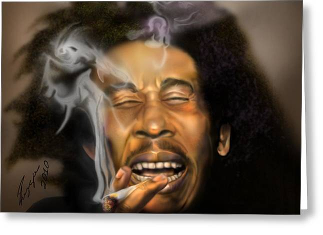 Bob Marley-Burning Lights 3 Greeting Card by Reggie Duffie