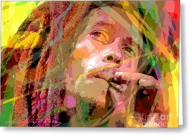 Celebrity Pop Art Greeting Cards - Bob Marley Greeting Card by David Lloyd Glover