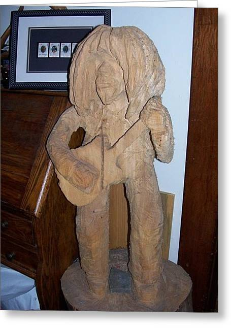 Chainsaw Carving Sculptures Greeting Cards - Bob Marley Greeting Card by Deverne Rushton
