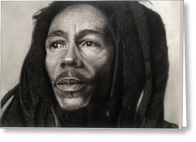 Hyperrealistic Greeting Cards - Bob Marley Drawing Greeting Card by Angelee Borrero