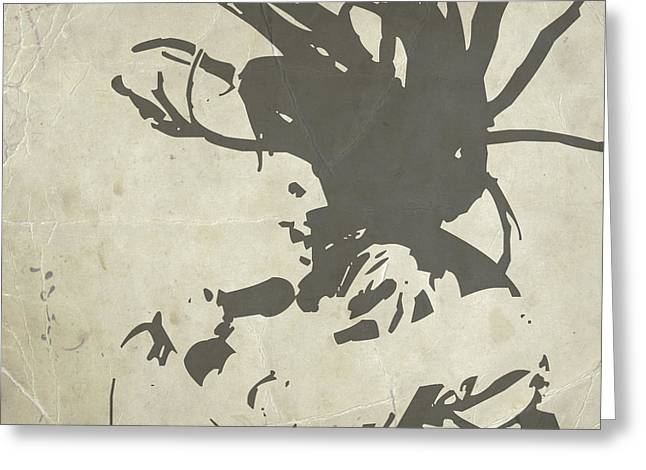 Bob Marley Grey Greeting Card by Naxart Studio