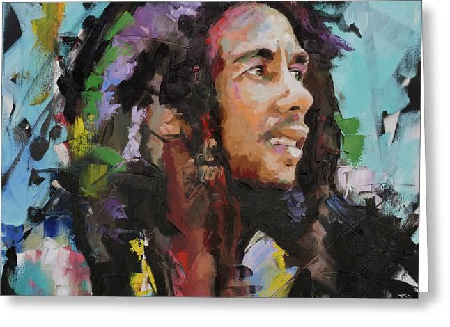 Bob Marley Portrait Greeting Card by Richard Day