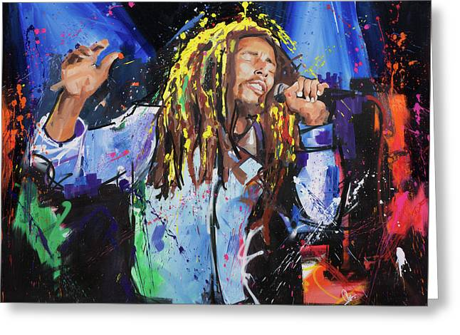 Abstract Expressions Greeting Cards - Bob Marley Greeting Card by Richard Day