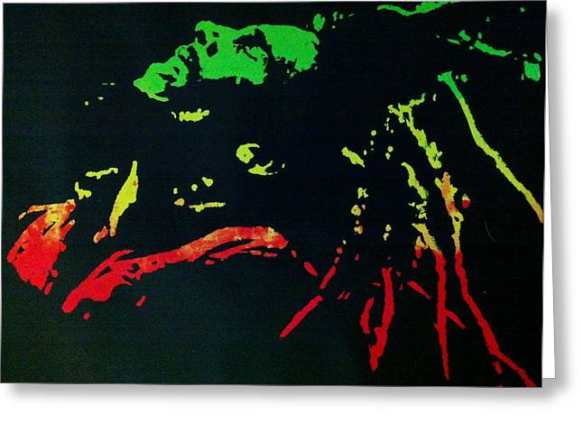 Silk Screen Greeting Cards - Bob Marley Skankin Greeting Card by Siobhan Bevans