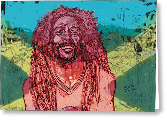 Singer Songwriter Drawings Greeting Cards - Bob Marley Greeting Card by Suzanne Gee