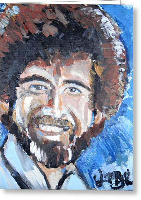 Bob Ross Paintings Greeting Cards - Bob Ross  Greeting Card by Jon Baldwin  Art