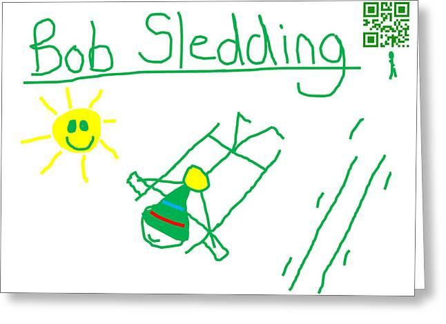 Bob Sledding Greeting Card by Jeffrey Church