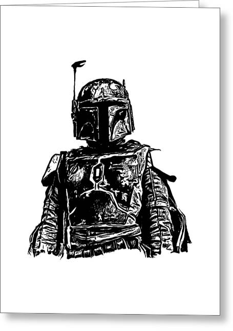 T Shirts Greeting Cards - Boba Fett from the Star Wars Universe Greeting Card by Edward Fielding