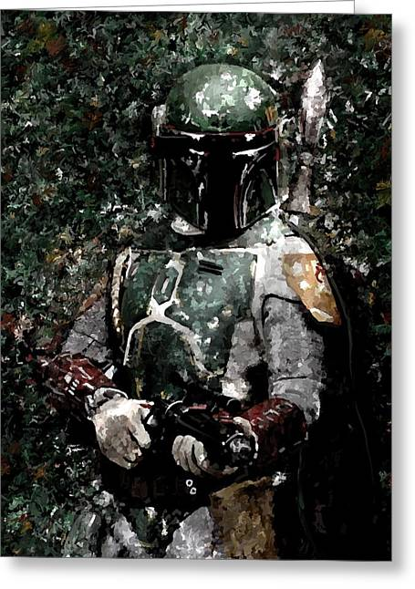 Leon Jimenez Greeting Cards - Boba Fett Portrait Art Painting Signed Prints available at laartwork.com Coupon Code KODAK Greeting Card by Leon Jimenez